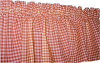 Orange Gingham Check Valances (set of two 40 inch wide, available in many lengths)