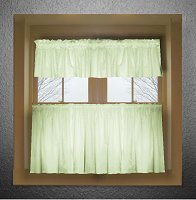 Solid Light Green Colored Café Style Curtain (includes 2 valances and 2 kitchen curtain panels in many custom lengths)