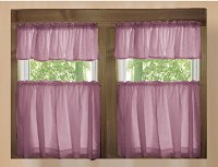 Solid Powder Plum Café Style Tier Curtain (includes 2 valances and 2 kitchen curtain panels in many custom lengths)