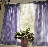 Purple Gingham Kitchen/Café Curtain (unlined or with white or blackout lining in many custom lengths)