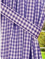 Purple Gingham Check Window Long Curtain (available in many lengths and with or without white or blackout lining)