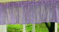 Purple Gingham Check Valances (set of two 40 inch wide, available in many lengths)
