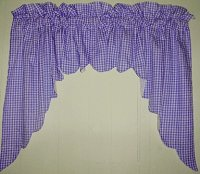 Purple Scalloped Window Swag Valance with White Lining (optional center piece available)