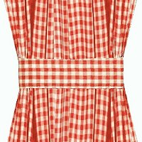 Red Gingham French Door Curtain Panels (available in many lengths)