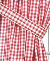 Red Gingham Check Window Long Curtain (available in many lengths and with or without white or blackout lining)