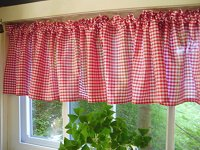 Red Gingham Check Valances (set of two 40 inch wide, available in many lengths)