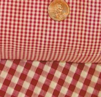 Red Mini Check Gingham French Door Curtain Panels (available in many lengths)