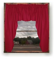 Solid Red Colored Swag Window Valance (optional center piece available)