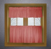 Solid Rose Colored Kitchen Curtain only — Valance Sold Separately — (available in many custom lengths)