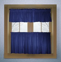Solid Royal Blue Colored Kitchen Curtain only — Valance Sold Separately — (available in many custom lengths)