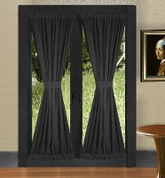 Solid Black Colored French Door Curtain (available in many lengths)