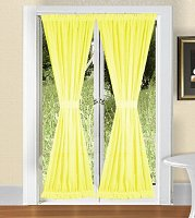 Solid Bright Lemon Yellow Colored French Door Curtain (available in many lengths)