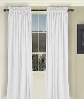 Solid Bright White Colored Window Long Curtain (available in many lengths and 3 rod pocket sizes)
