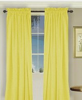 Solid Bright (Lemon) Yellow Colored Window Long Curtain (available in many lengths and 3 rod pocket sizes)