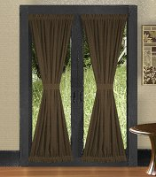 Solid Brown Colored French Door Curtain (available in many lengths)