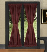 Solid Burgundy (Dark) Wine Colored French Door Curtain (available in many lengths)