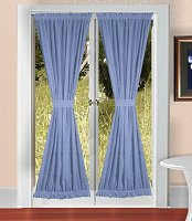 Solid Caribbean Blue Colored French Door Curtain (available in many lengths)