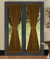 Solid Copper Brown Colored French Door Curtain (available in many lengths)