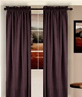 Solid Eggplant Purple Colored Window Long Curtain - (available in many lengths and 3 rod pocket sizes)