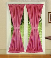 Solid Hot Pink-Fuchsia Colored French Door Curtain (available in many lengths)