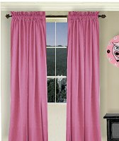 Solid Hot Pink-Fuchsia Colored Window Long Curtain (available in many lengths and 3 rod pocket sizes)