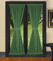 Solid Hunter Green Colored French Door Curtain (available in many lengths)