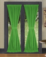 Solid Kelley Green Colored French Door Curtain (available in many lengths)