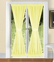 Solid Light Yellow Colored French Door Curtain (available in many lengths)