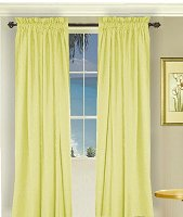 Solid Light Yellow Colored Window Long Curtain (available in many lengths and 3 rod pocket sizes)