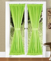 Solid Lime Green Colored French Door Curtain (available in many lengths)