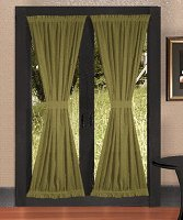 Solid Olive Green Colored French Door Curtain (available in many lengths)