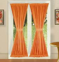 Solid Orange Colored French Door Curtain (available in many lengths)