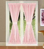 Solid Pink Colored French Door Curtain (available in many lengths)