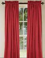 Solid Red Colored Window Long Curtain (available in many lengths and 3 rod pocket sizes)