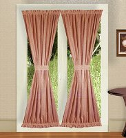Solid Rose Colored French Door Curtain (available in many lengths)