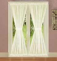 Solid Soft White Colored French Door Curtain (available in many lengths)