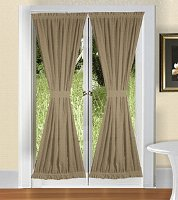 Solid Taupe-Khaki Colored French Door Curtain (available in many lengths)