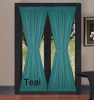 Solid Teal Colored French Door Curtain (available in many lengths)