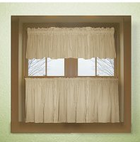 Solid Tan Colored Café Style Curtain (includes 2 valances and 2 kitchen curtain panels in many custom lengths)