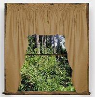 Solid Taupe-Khaki Colored Swag Window Valance (optional center piece available)