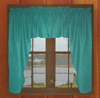 Solid Teal Colored Swag Window Valance (optional center piece available)