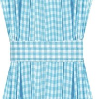 Turquoise Gingham French Door Curtain Panels (available in many lengths)