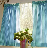 Turquoise Gingham Kitchen/Café Curtain (unlined or with white or blackout lining in many custom lengths)