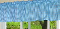 Turquoise Gingham Check Valances (set of two 40 inch wide, available in many lengths)