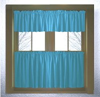 Solid Turquoise Colored Kitchen Curtain only — Valance Sold Separately — (available in many custom lengths)