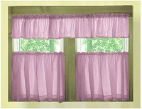 Solid Violet Purple Café Style Tier Curtain (includes 2 valances and 2 kitchen curtain panels in many custom lengths)