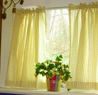 Yellow Gingham Kitchen/Café Curtain (unlined or with white or blackout lining in many custom lengths)