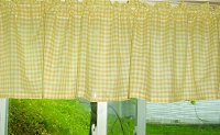 Yellow Gingham Check Valances (set of two 40 inch wide, available in many lengths)
