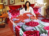 Jasmine, Colorful Bedding with Vivid Print of Peonies and Tulips with a Smooth and silky Texture by Diana, 6-PC Full-Queen Duvet Cover Set
