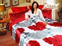 Refresh, Large Red and White Roses on a White Backdrop that Reverses to a Red Silky Base by Diana, 6-PC Full-Queen Duvet Cover Set